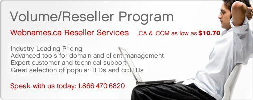 Volume/Reseller Program. Industry leading pricing, expert customer and technical support, great selection of popular TLDs and ccTLDs.